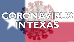 coronavirus meme over flag of the State of Texas